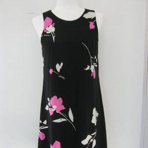 Ralph Lauren Black Sleeveless Floral Shift Dress